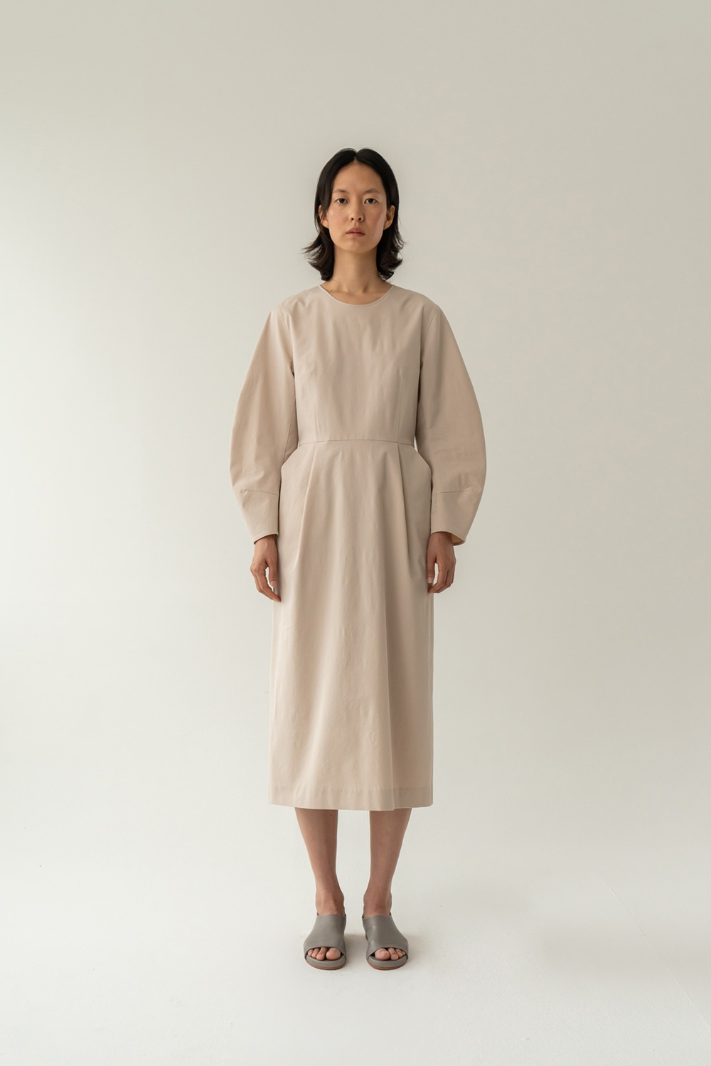 Bell époque cotton dress beige
