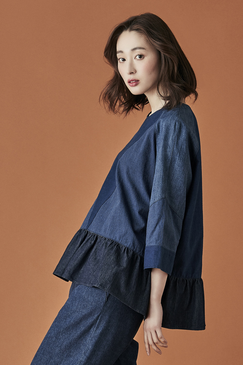 Denim Shirring blouse Top