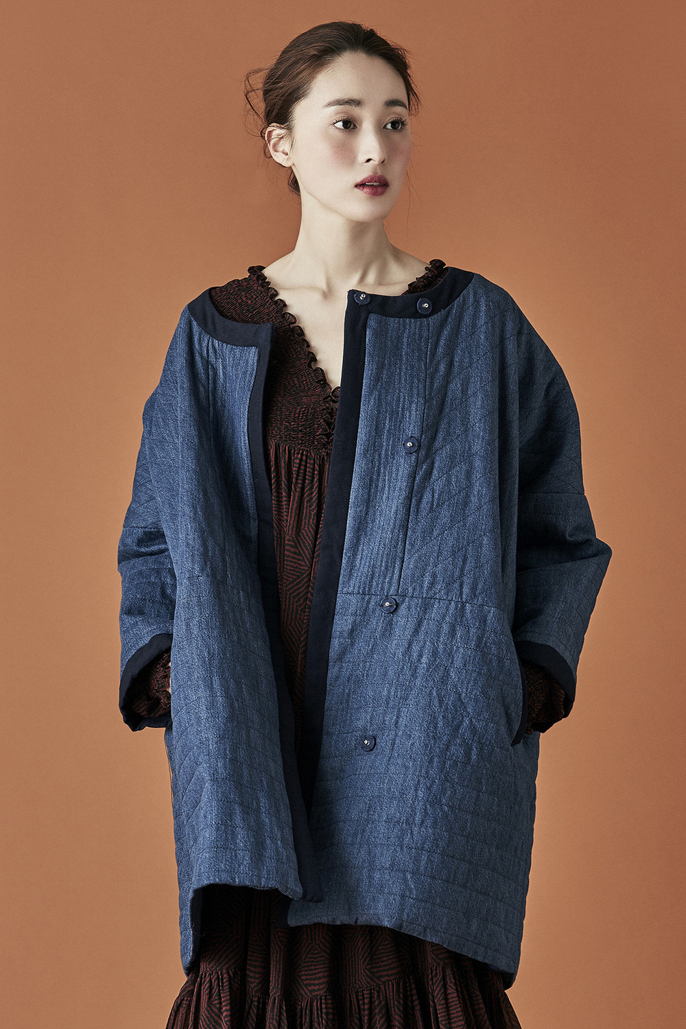 Round Denim Stitched Coat