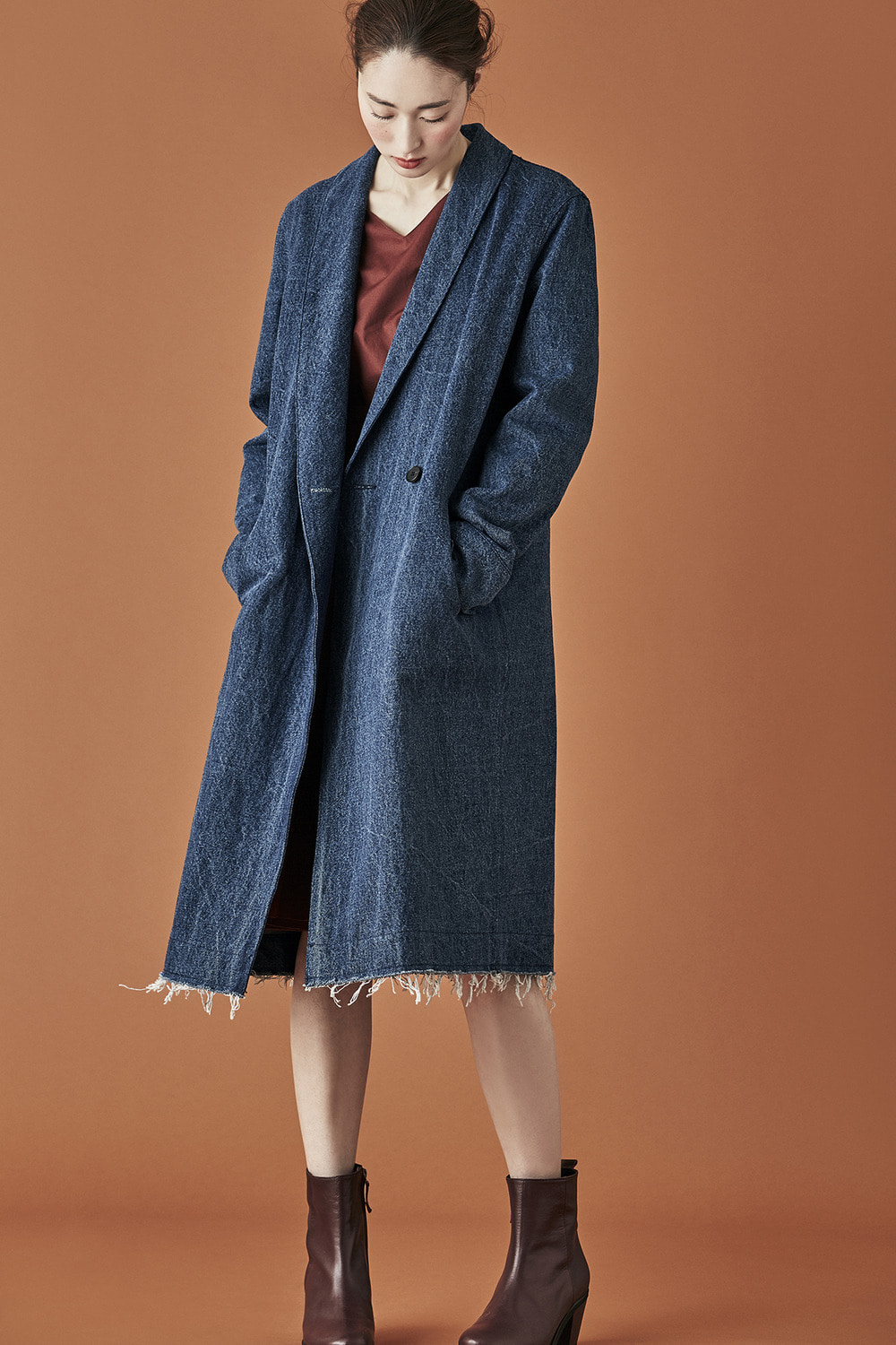 Denim Shawl Collar Long Coat