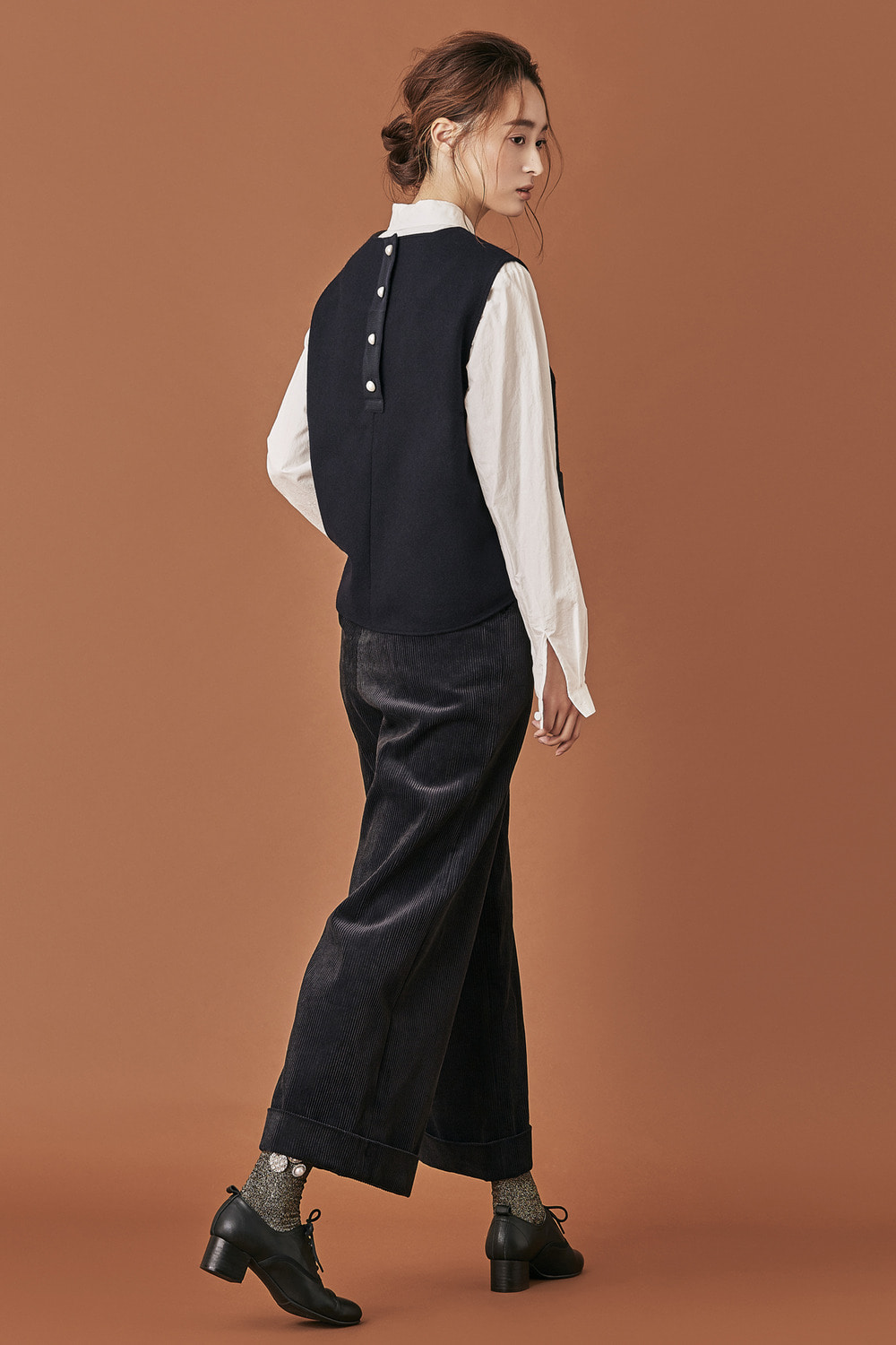 Corduroy Bell Pants - Black