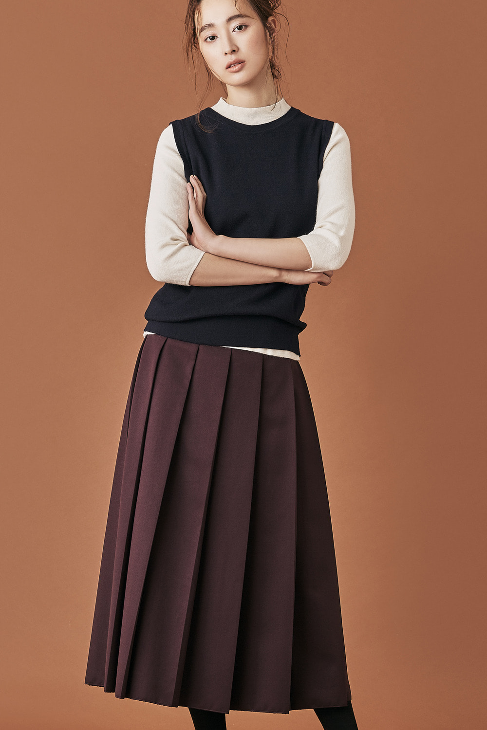 Full Pleats Midi Skirt