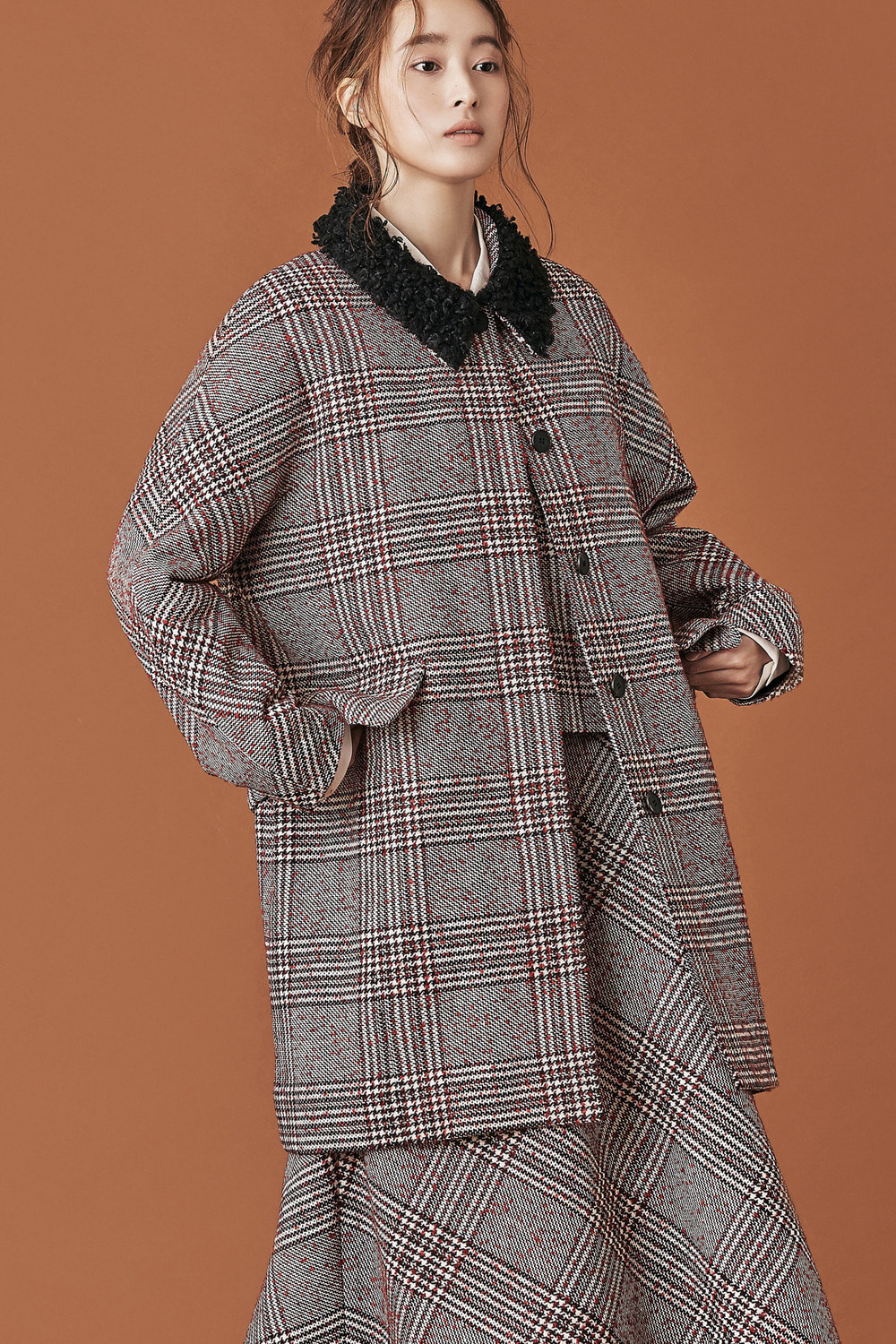 Glen Check Fringed Fur Collar Half Coat
