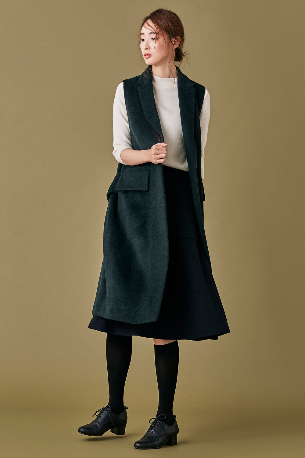 Tailored Long Vest - Deep Green