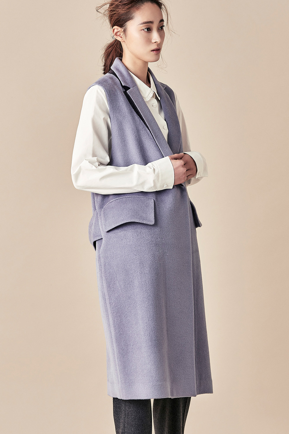Tailored Long Vest - Lavender