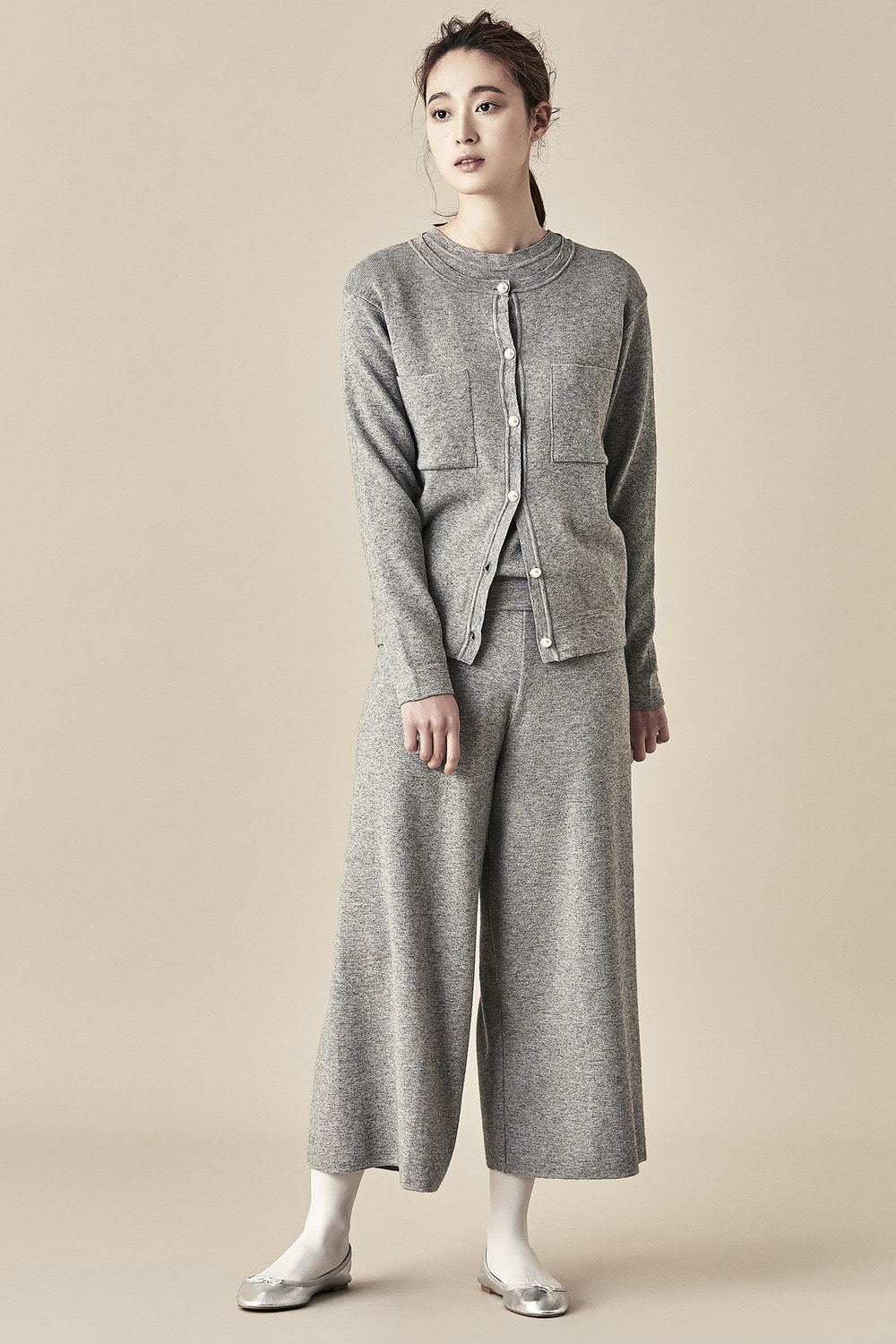 Relaxed Knit Pants - Grey
