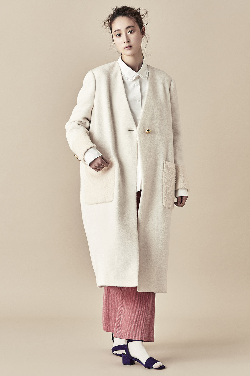 White Vneck Coat