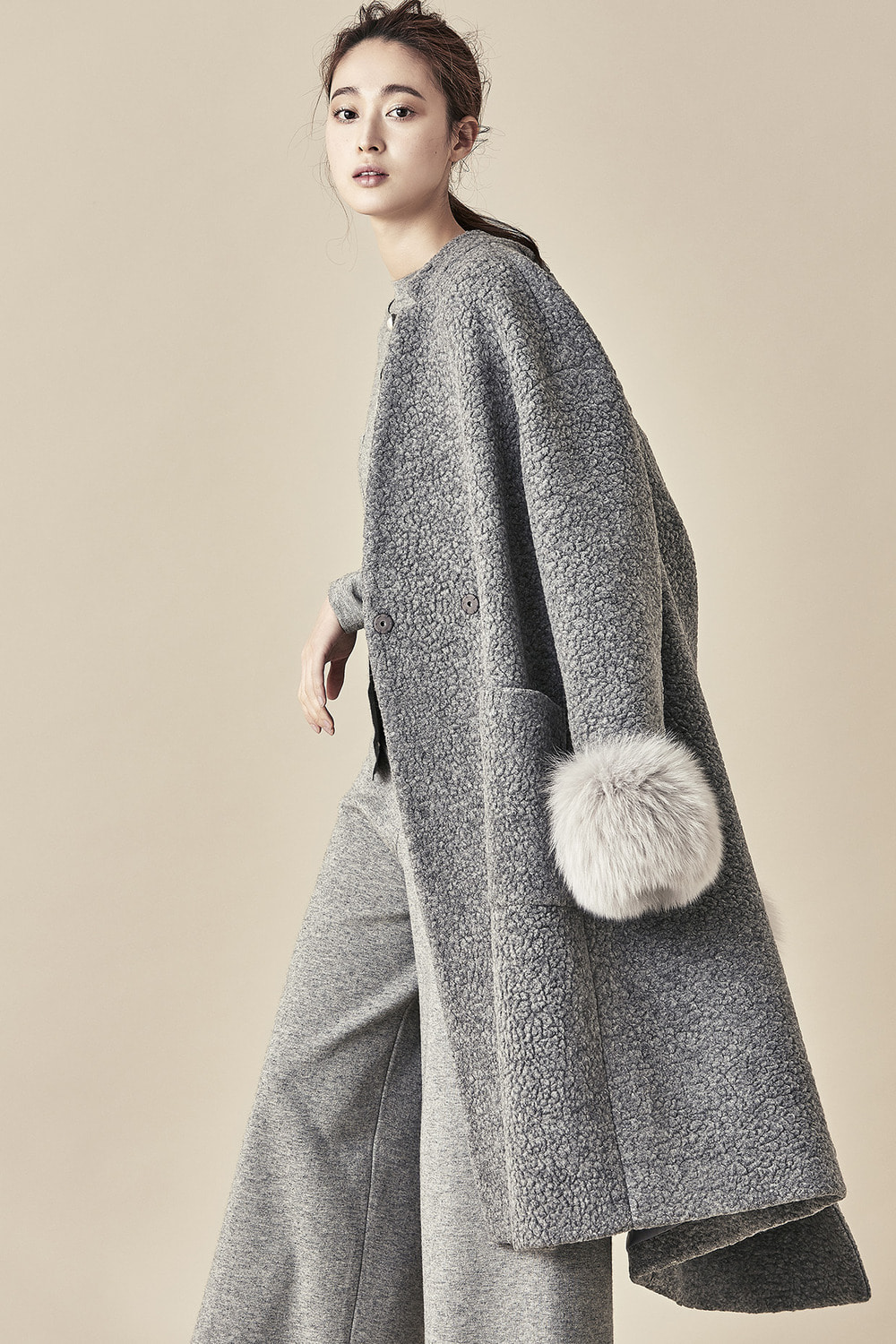 Wool Fur Sleeve Coat - Grey