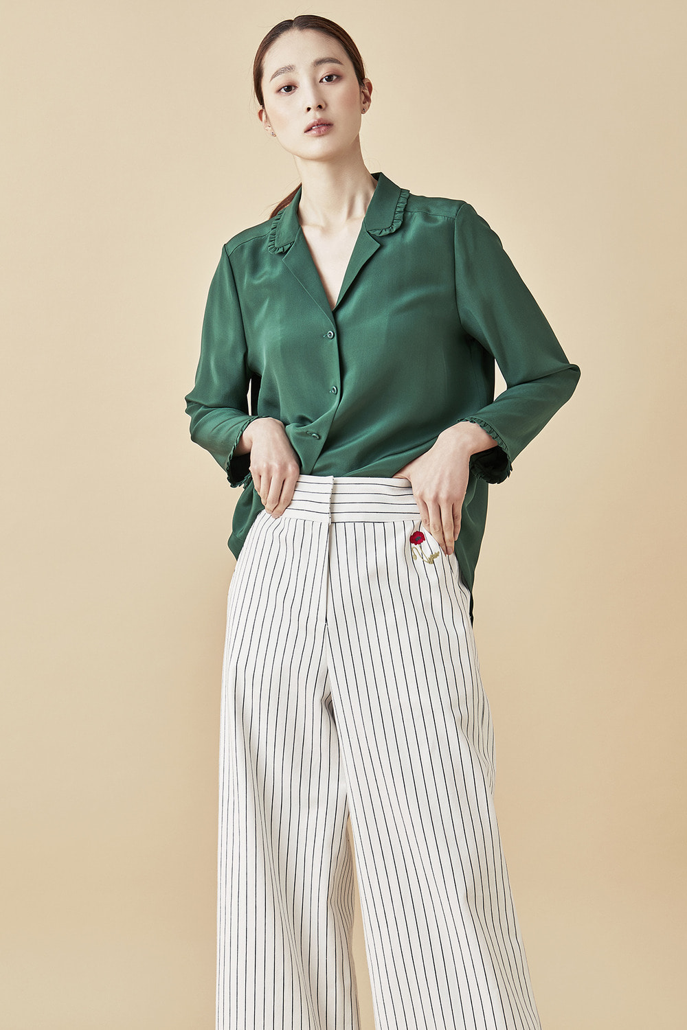 Poppy Embroidered Stripe Wide Pants