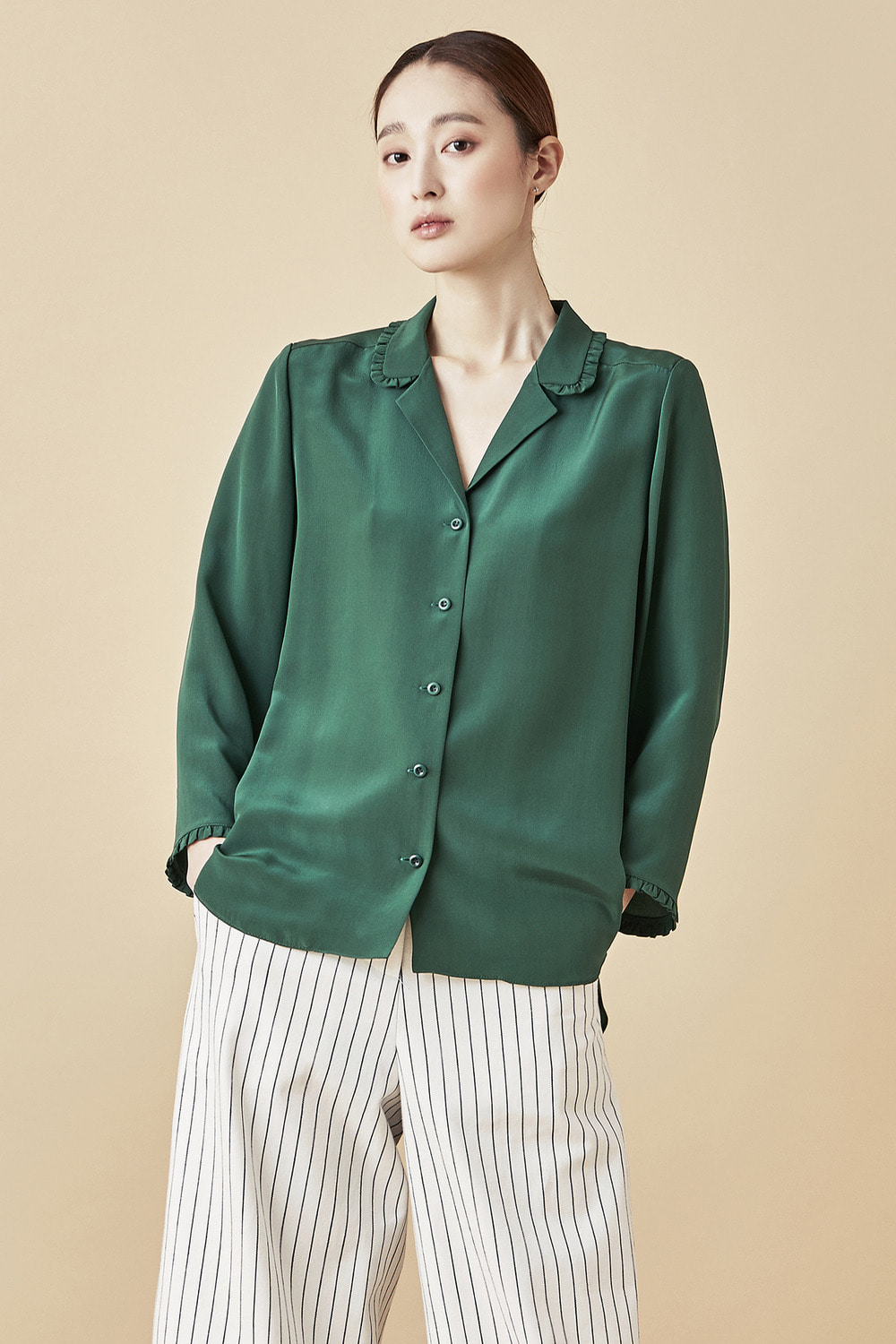 Silk Shirring Blouse - Green
