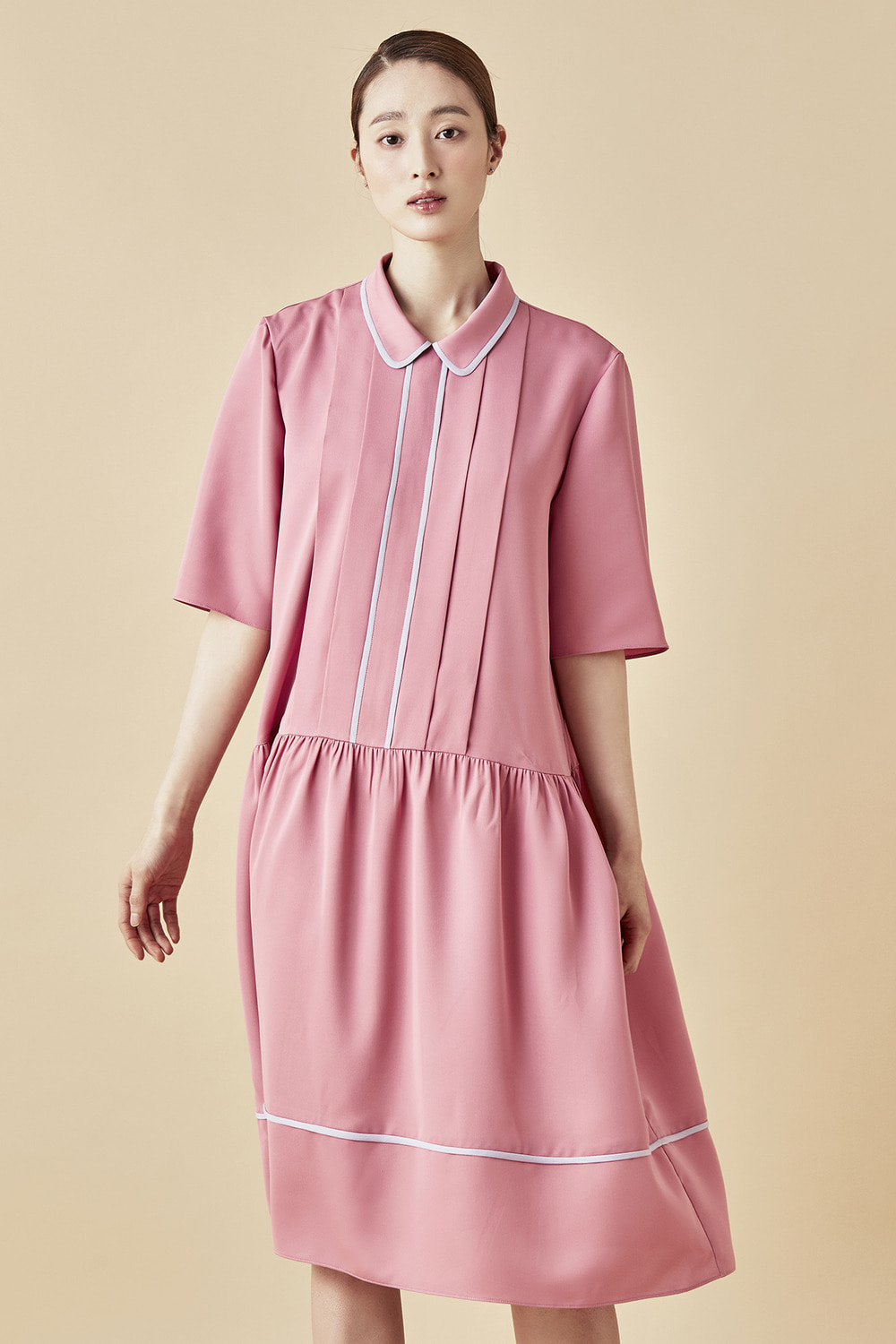 Pink Shirring Dress