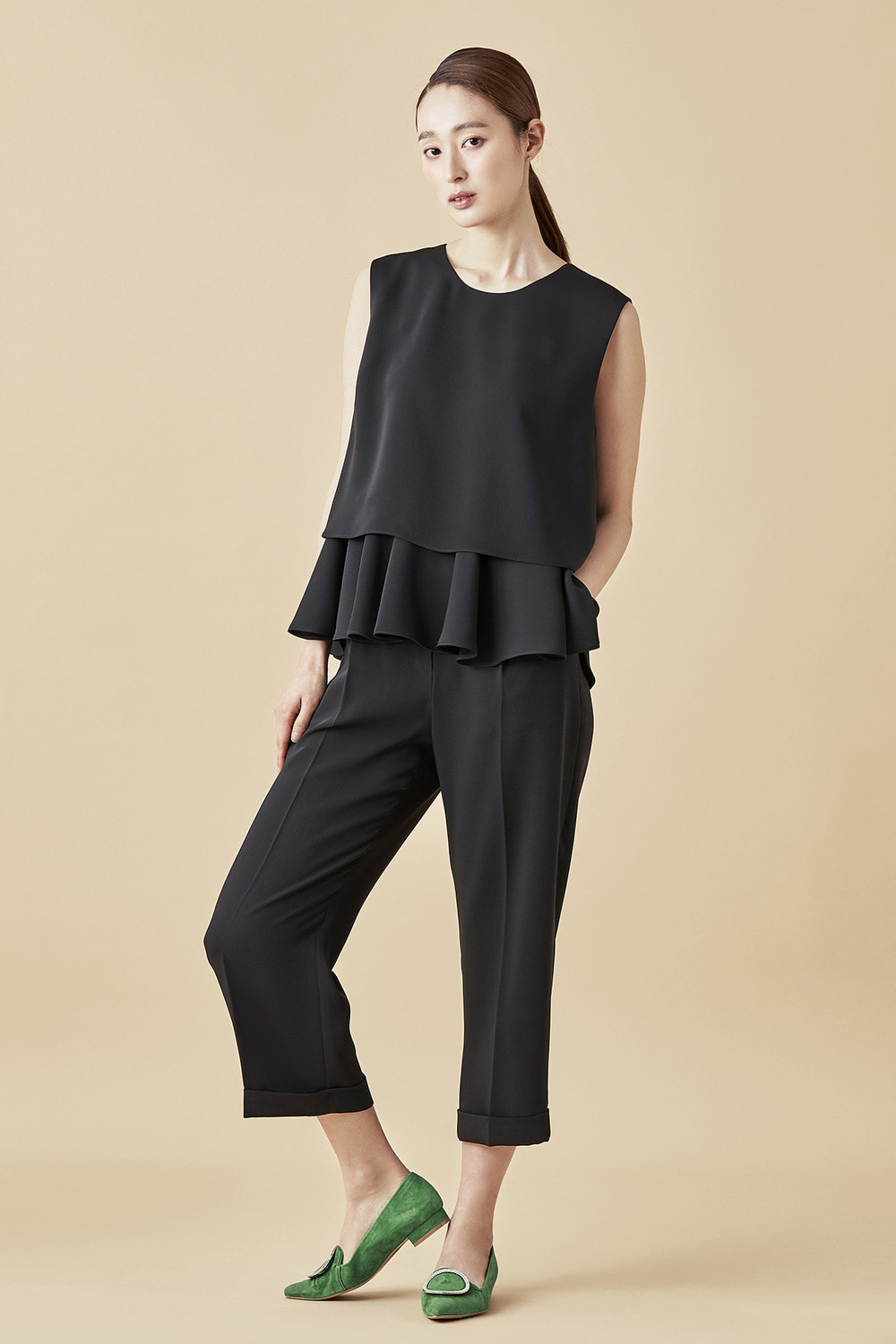 Cropped Wide Pants - Black