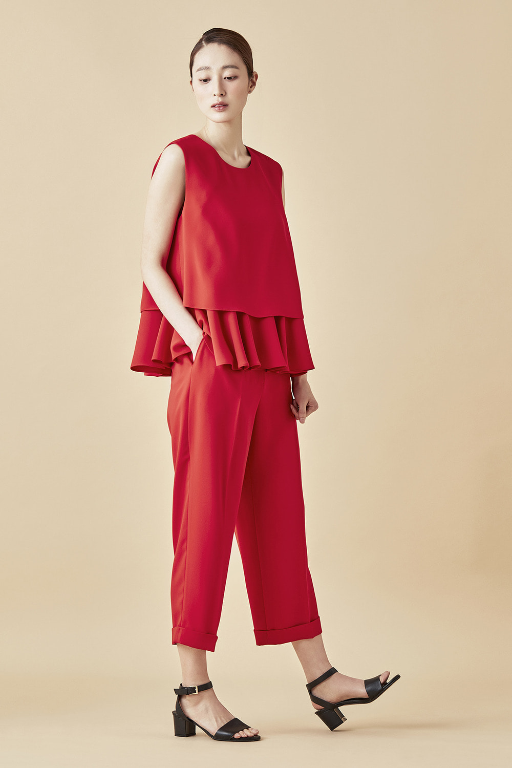 Cropped Wide Pants - Red