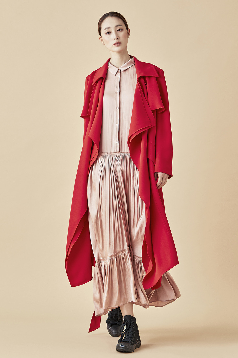 Drape Trench Coat - Red
