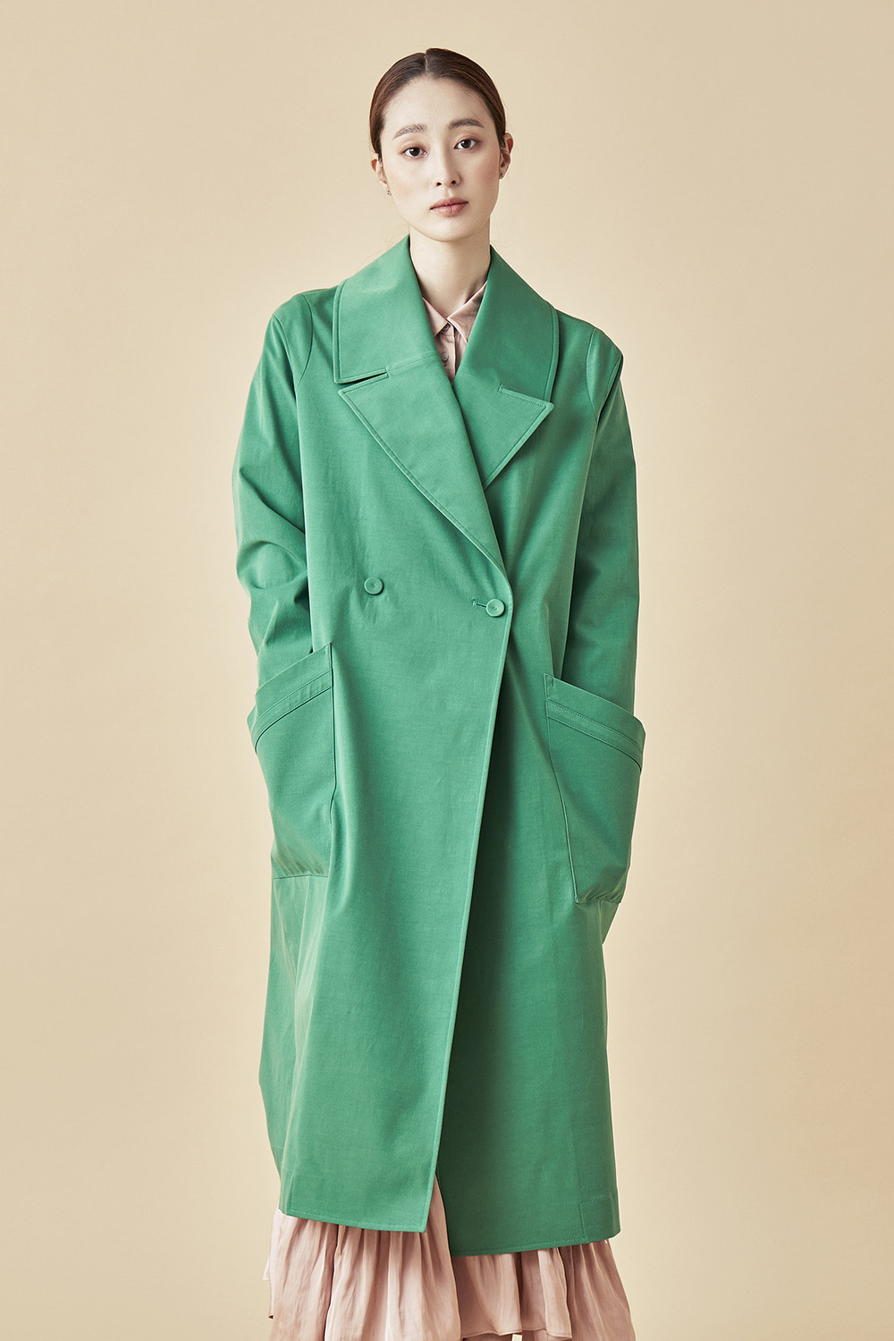 Wide Lapel Dust Coat - Green