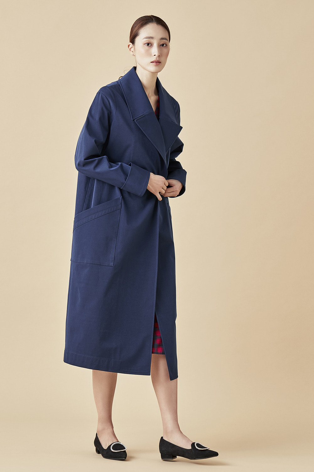 Wide Lapel Dust Coat - Navy Blue