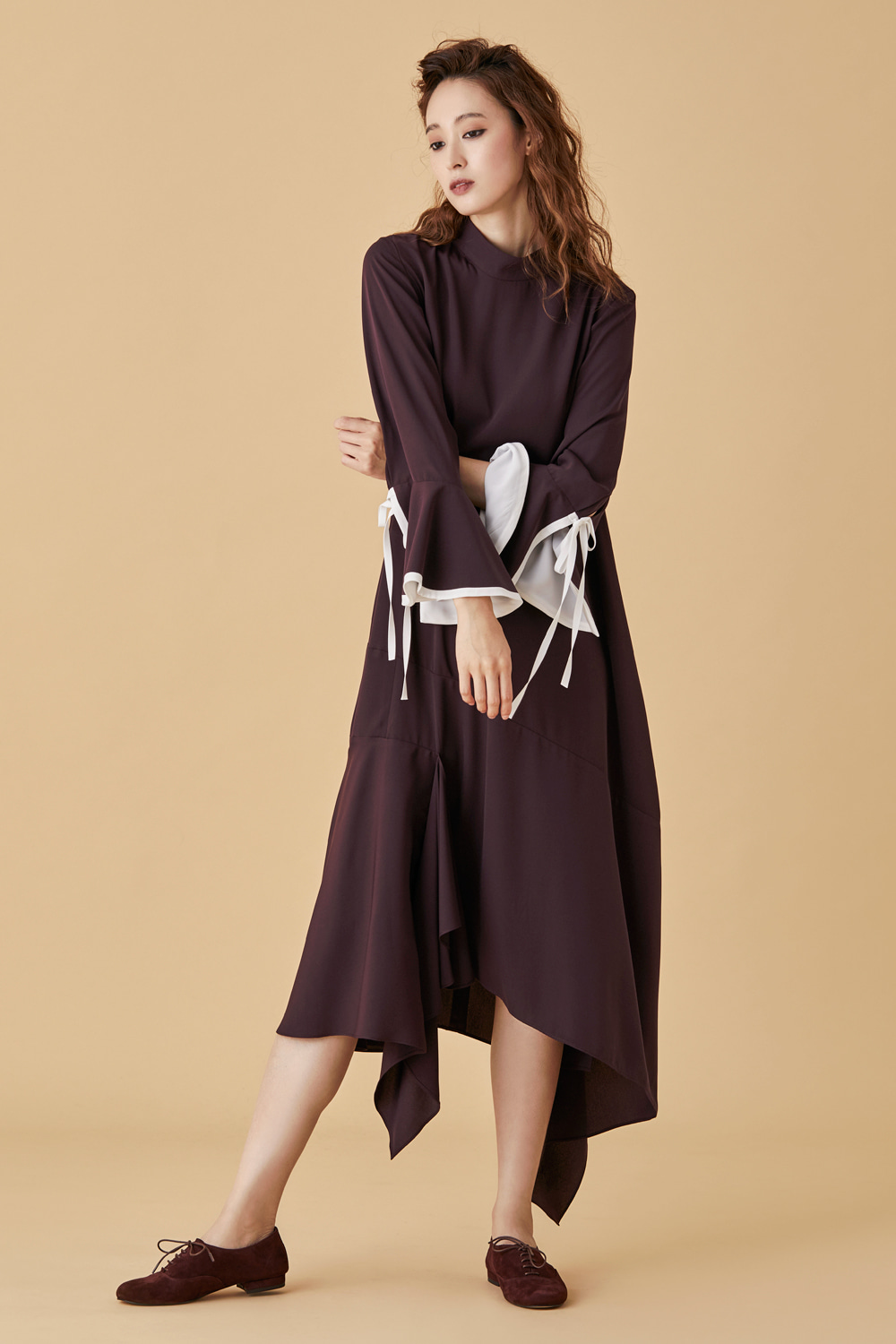 Hi Neck Poet Sleeve Dress