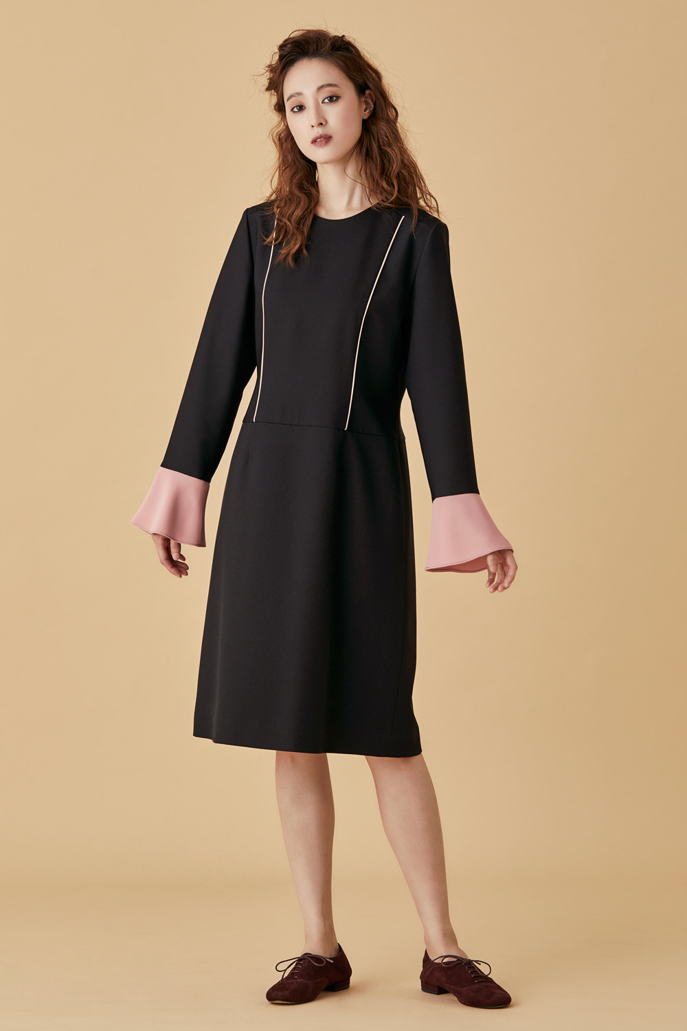 Trumpet Sleeve Black Dress