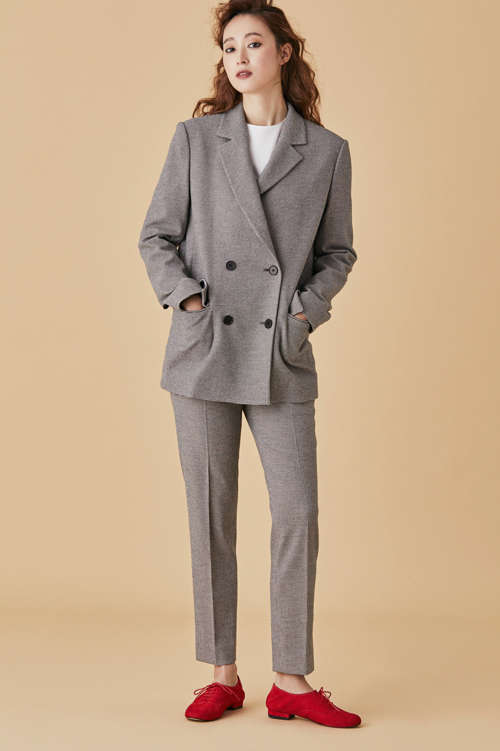 Check Tailored Double Jacket - Grey