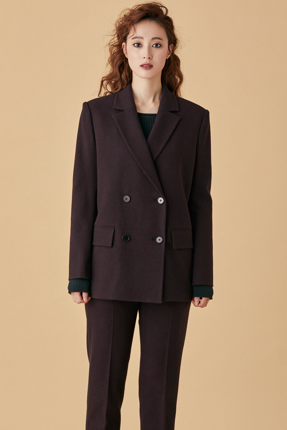Check Tailored Double Jacket - Burgundy