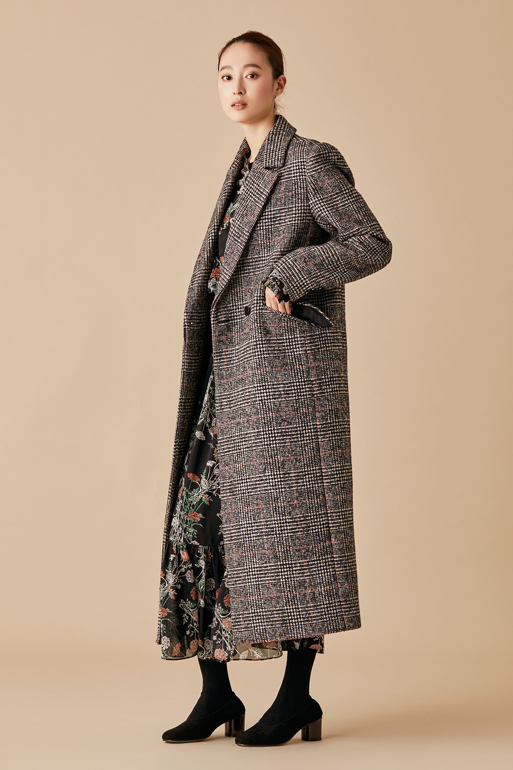 Glen Check Wool Double Coat