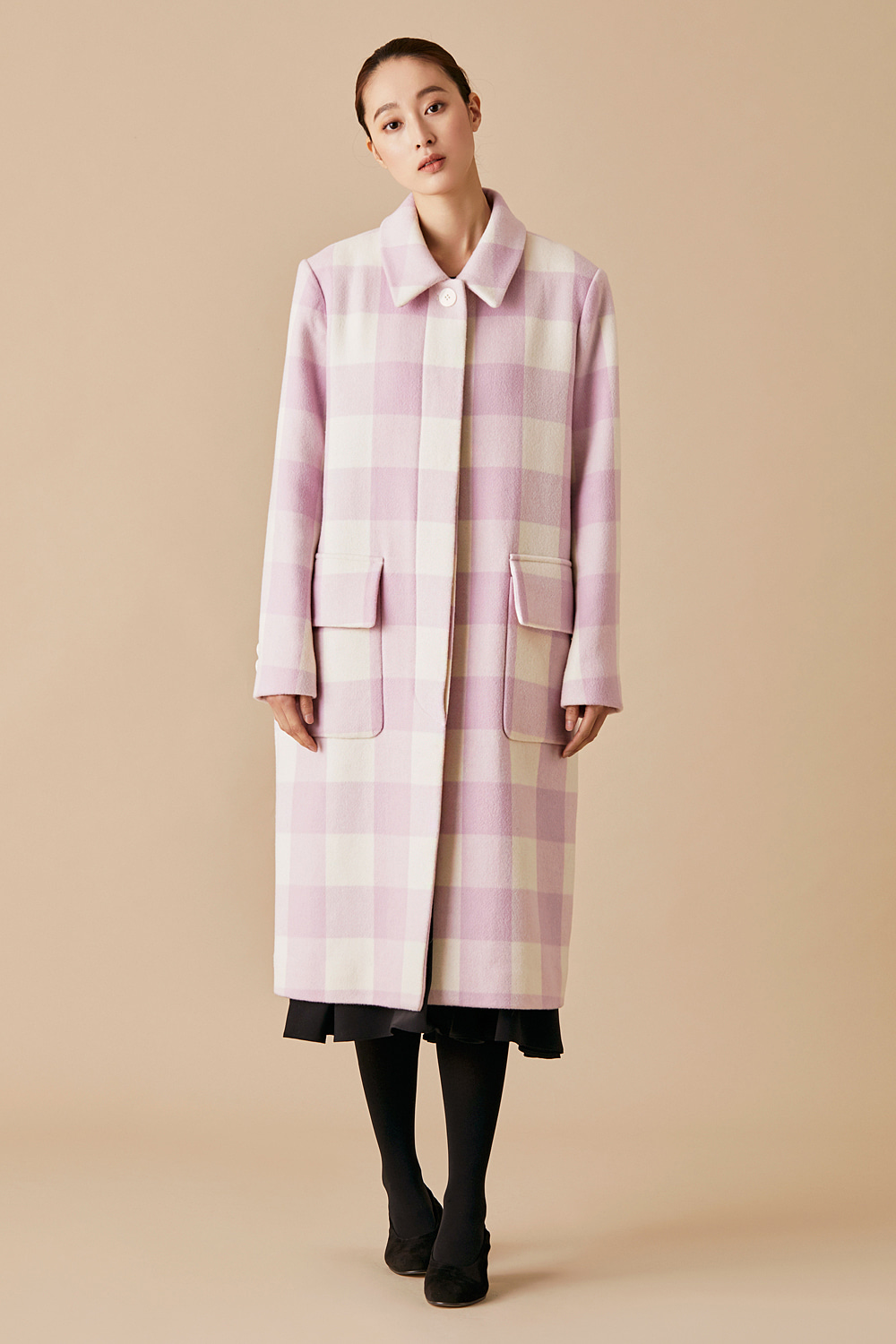 Lilac Gingham Check Duster Coat