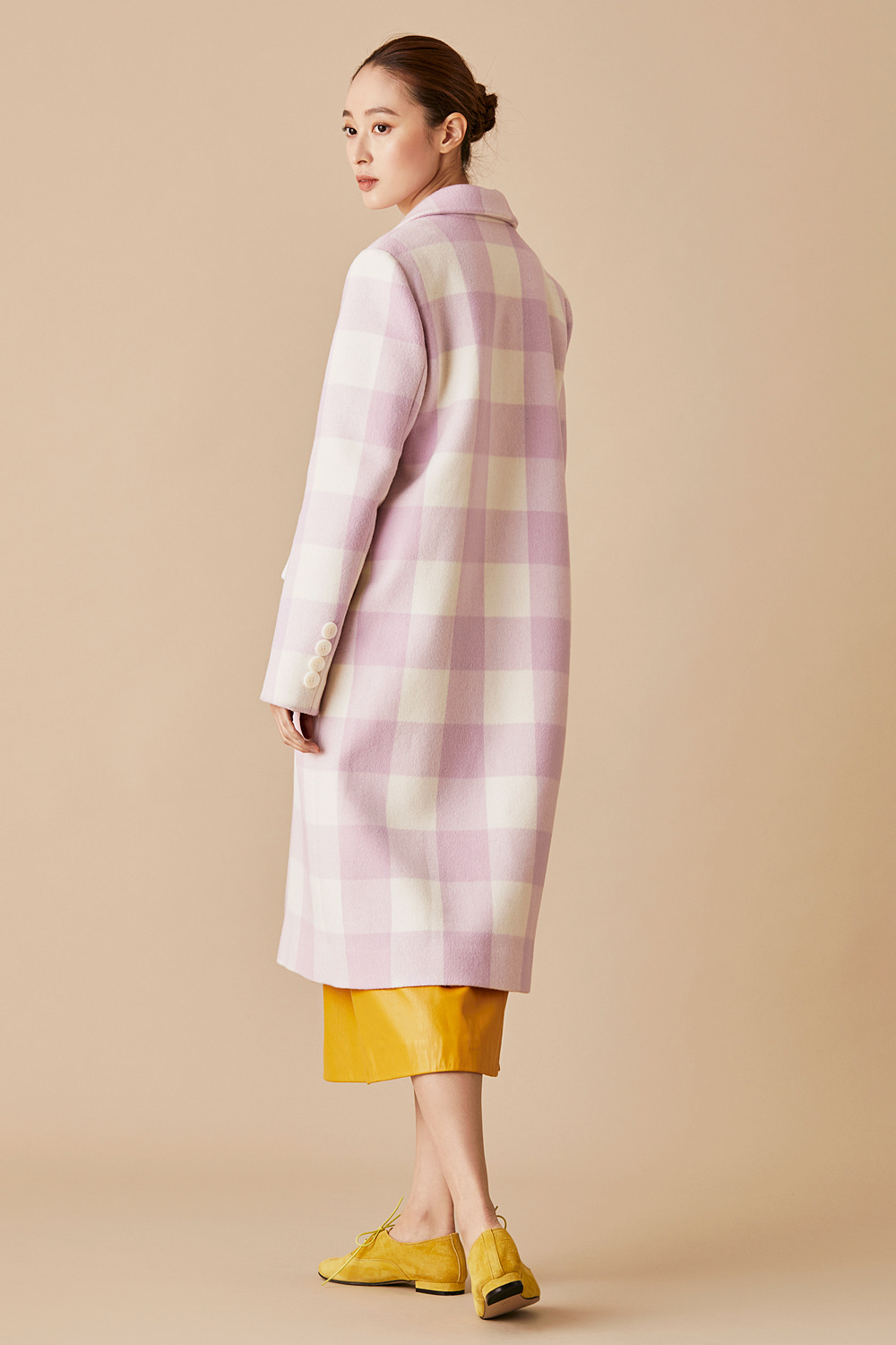 Lilac Gingham Check Tailored Coat