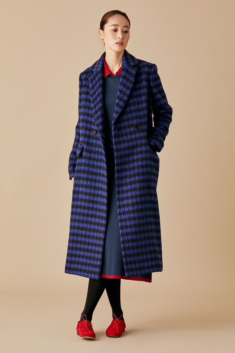 Houndtooth Check Wool Coat