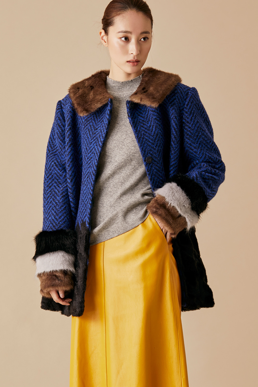 Herringbone Fur Short Coat