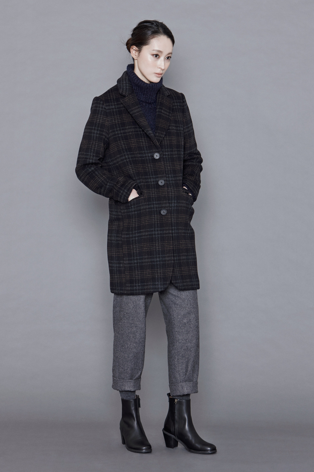 Tartan Check Wool Coat