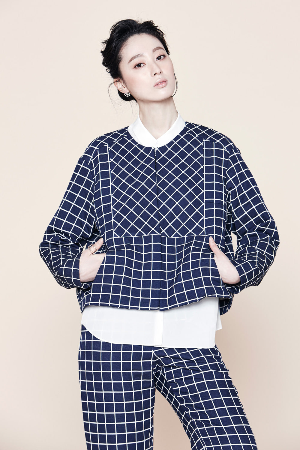 Windowpane Check Cropped Jacket