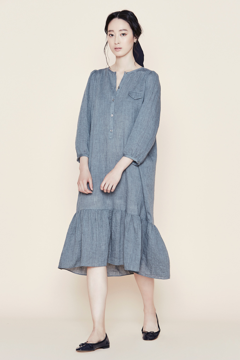 Grey Peasant Dress