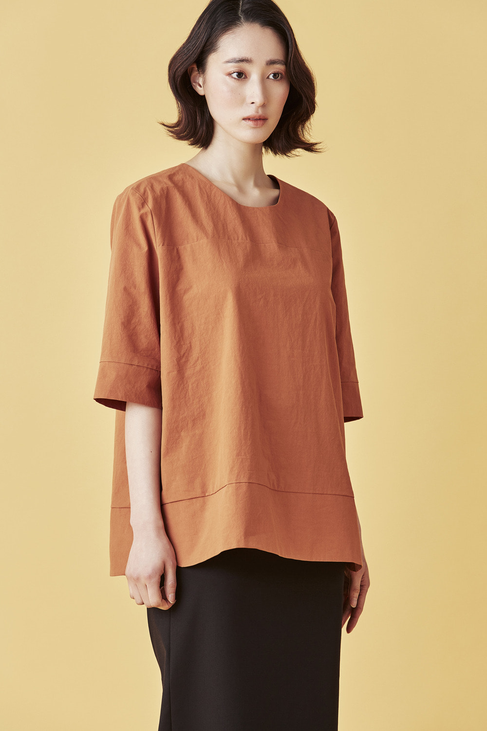 Cotton Easy Blouse - Orange