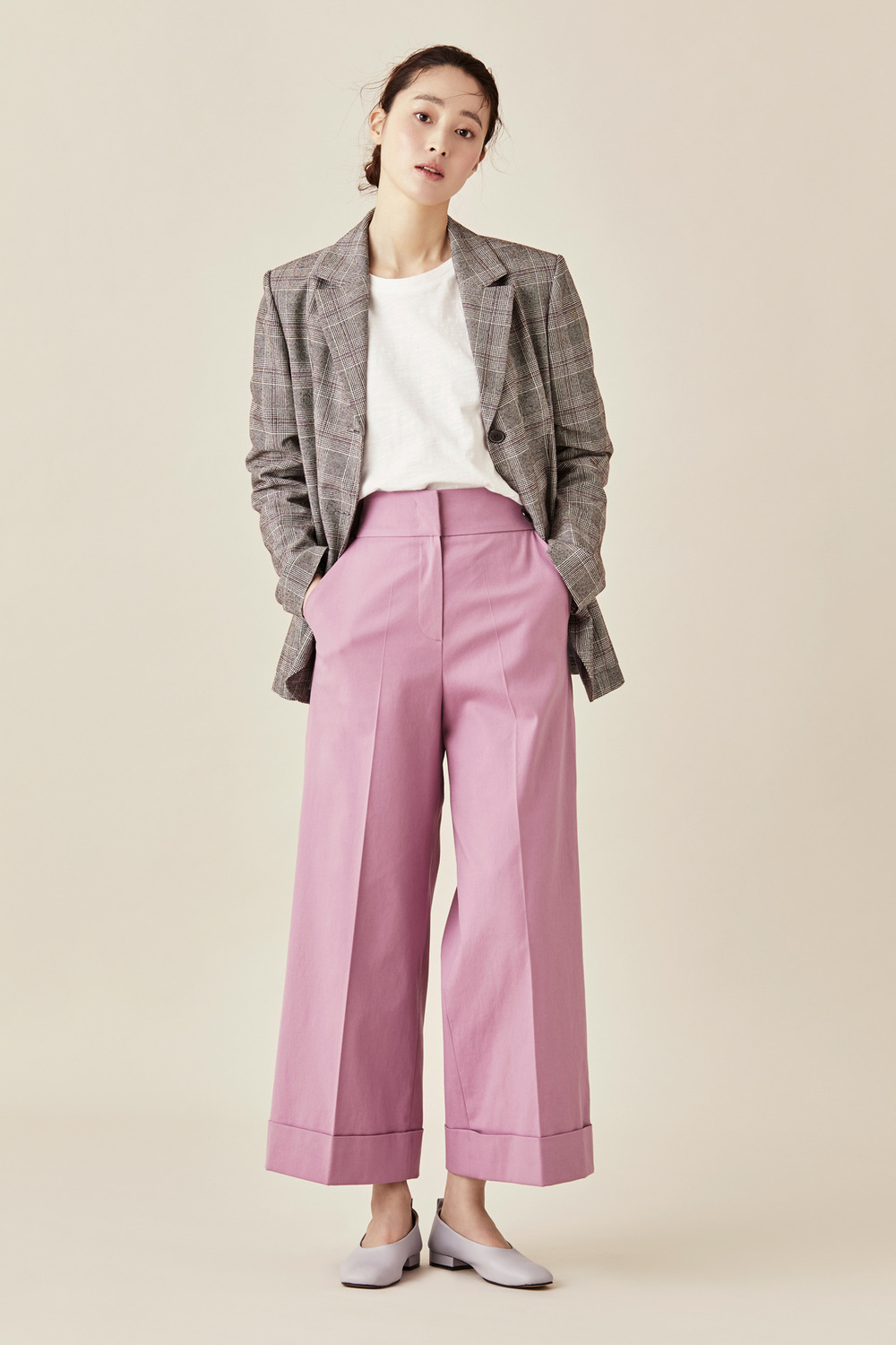High Waist Roll Up Wide Pants