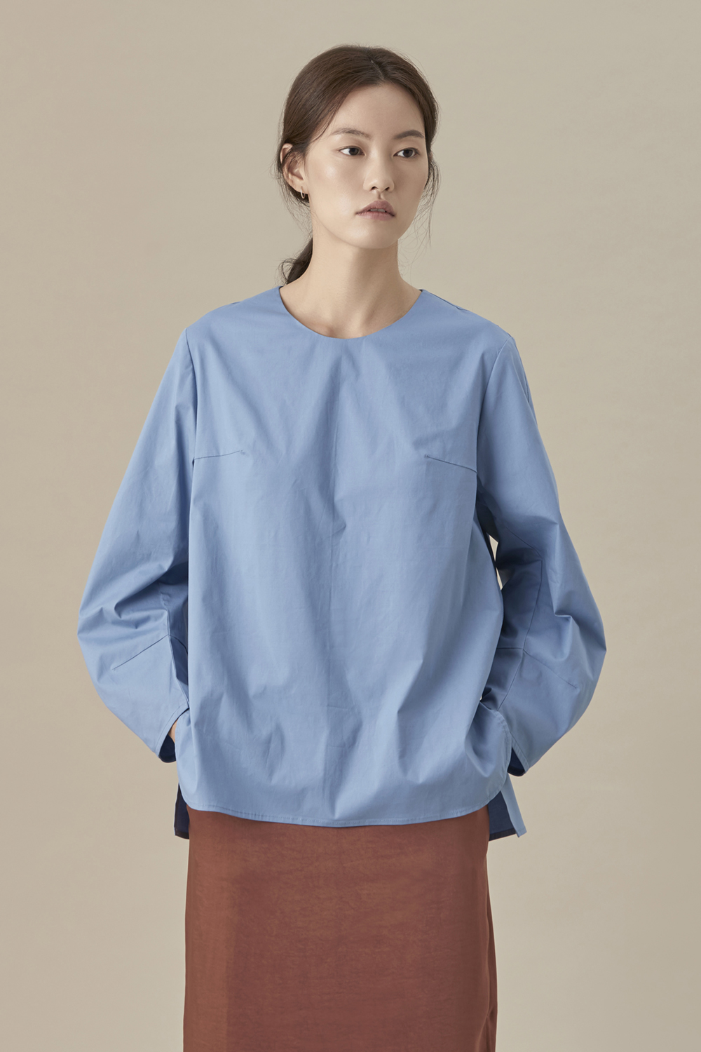 Round Cotton Volume Blouse