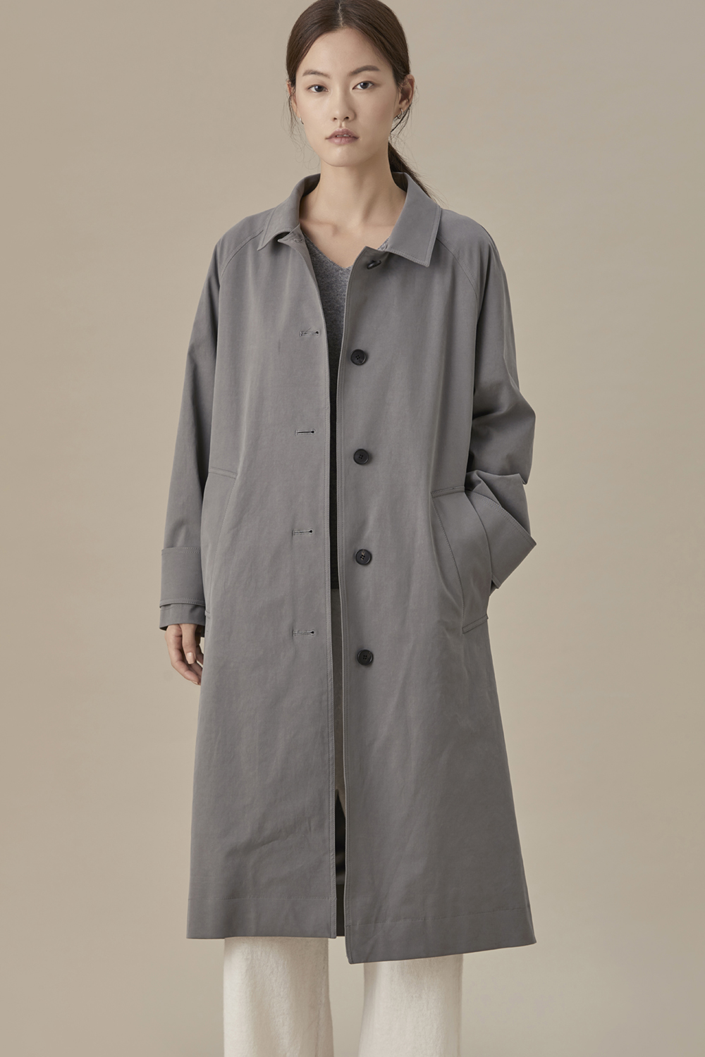 Single Fall Coat Gray