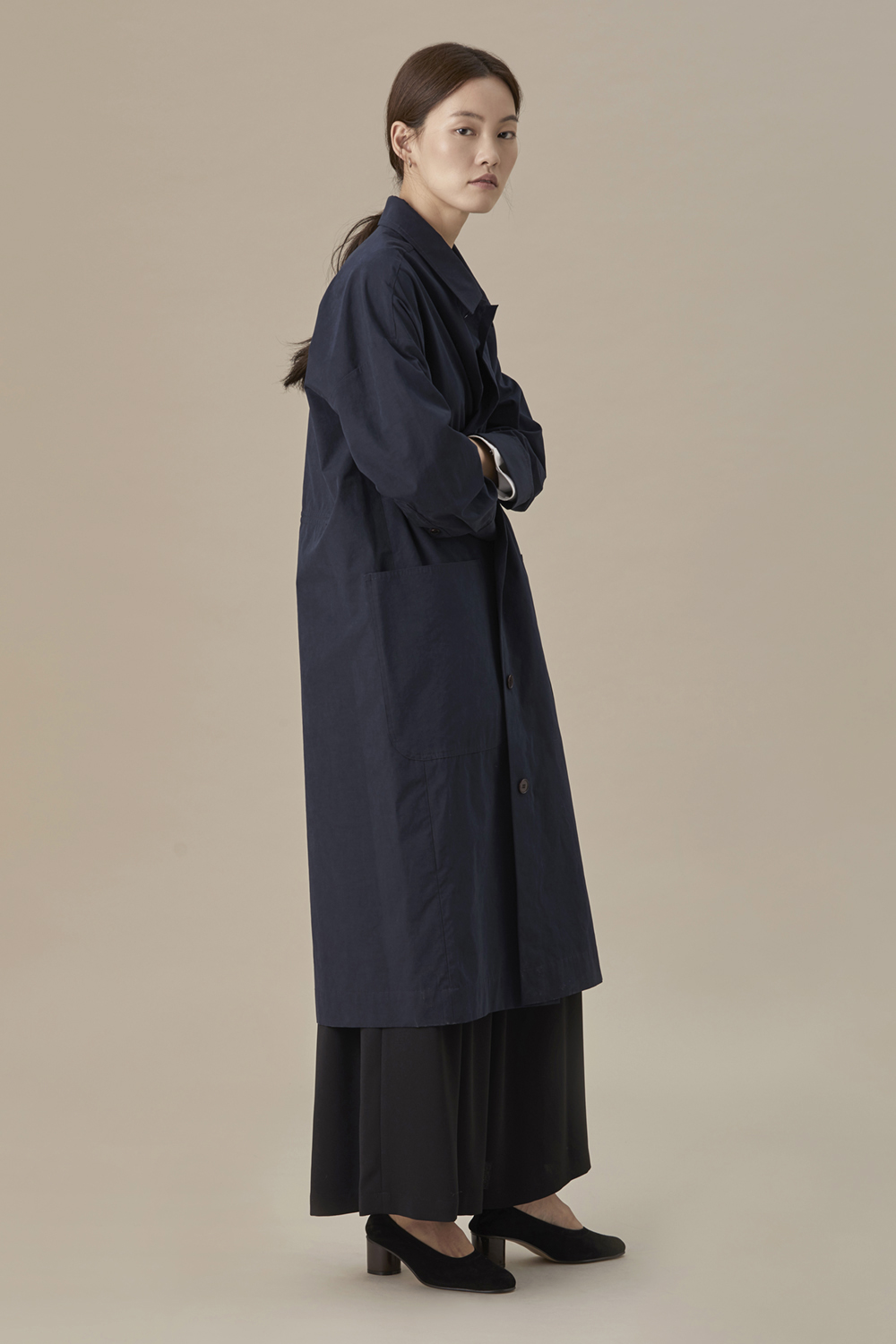 Back String Coat Navy