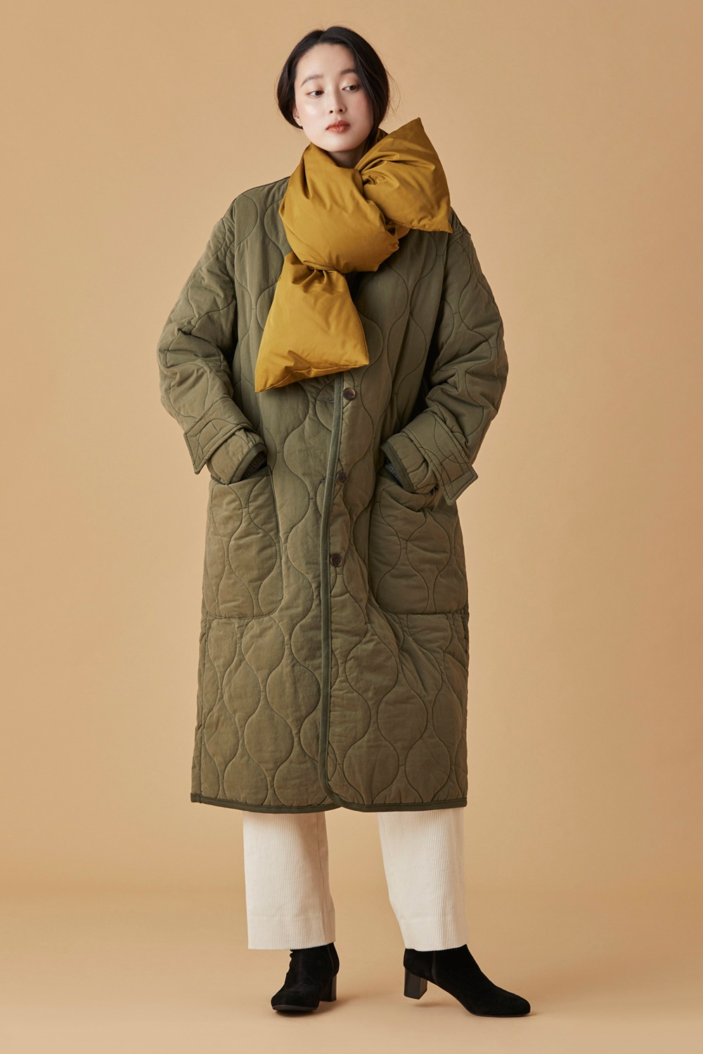 Oversized Quilting Coat Khaki