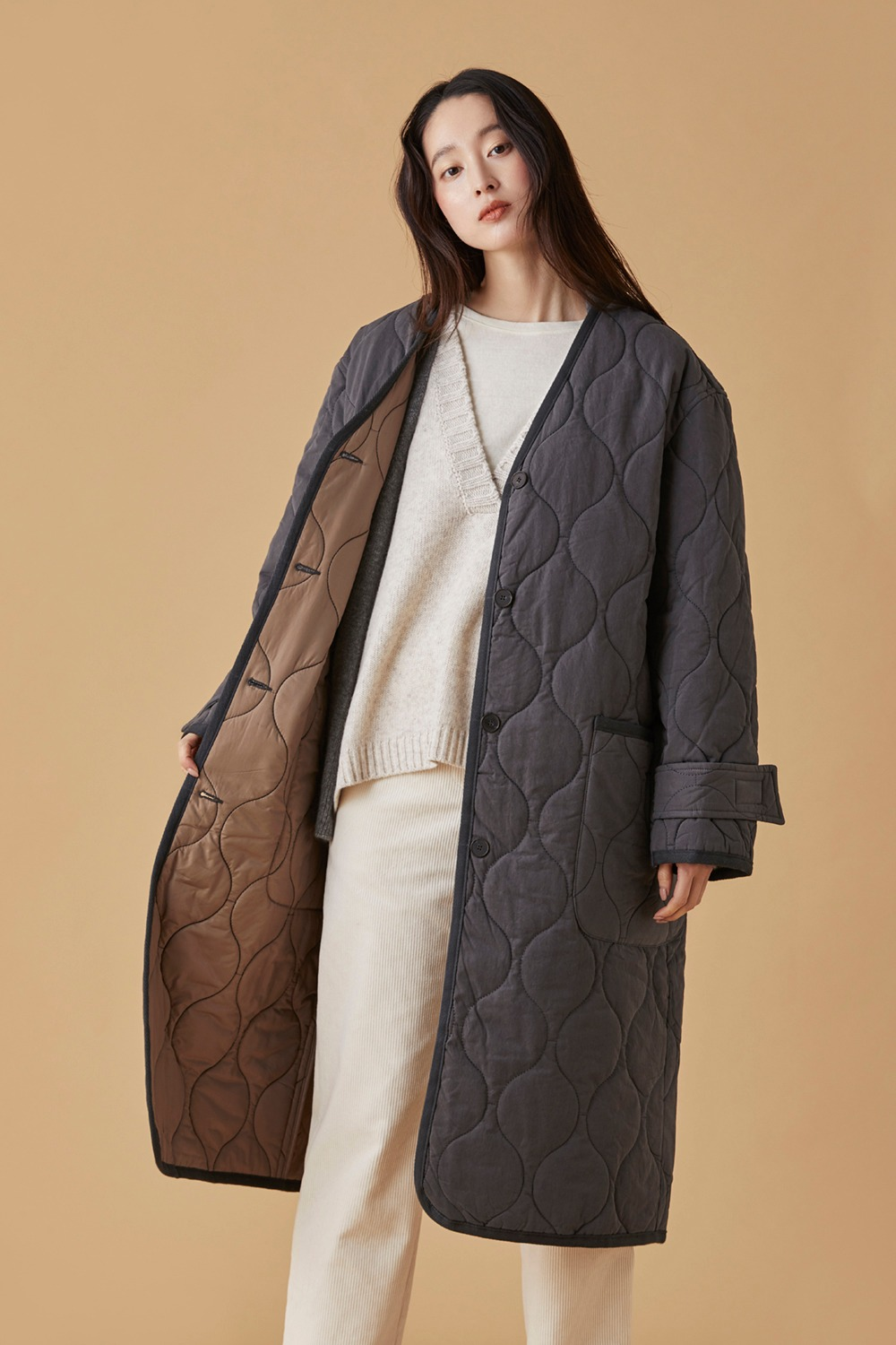 Oversized Quilting Coat Gray