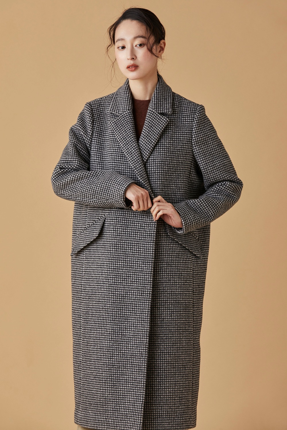 Hound Tooth Check Long Coat