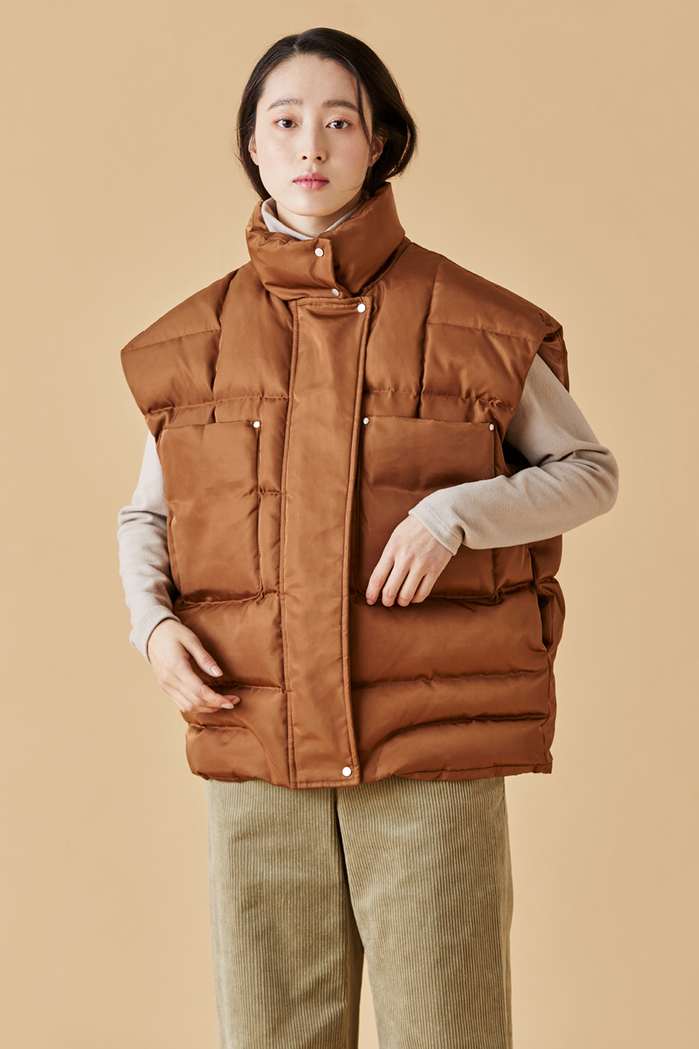 Down Padding Vest Brown
