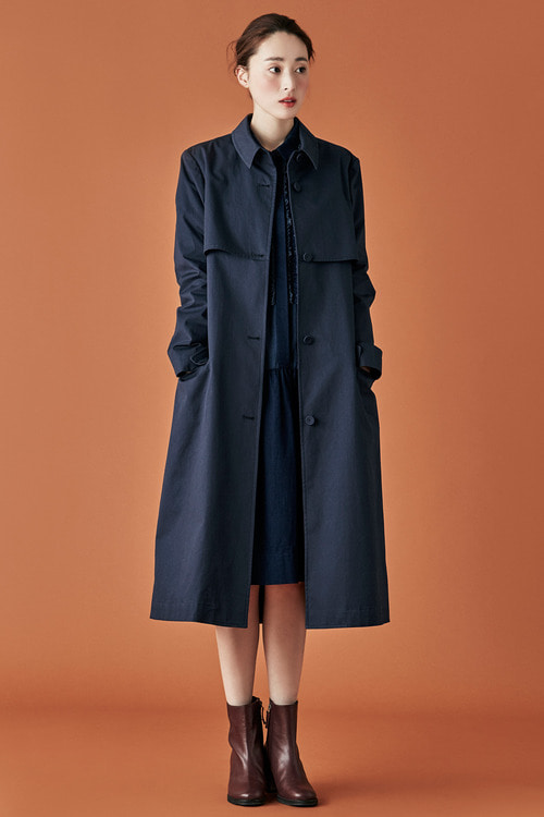 Cotton Trench Coat - Navy
