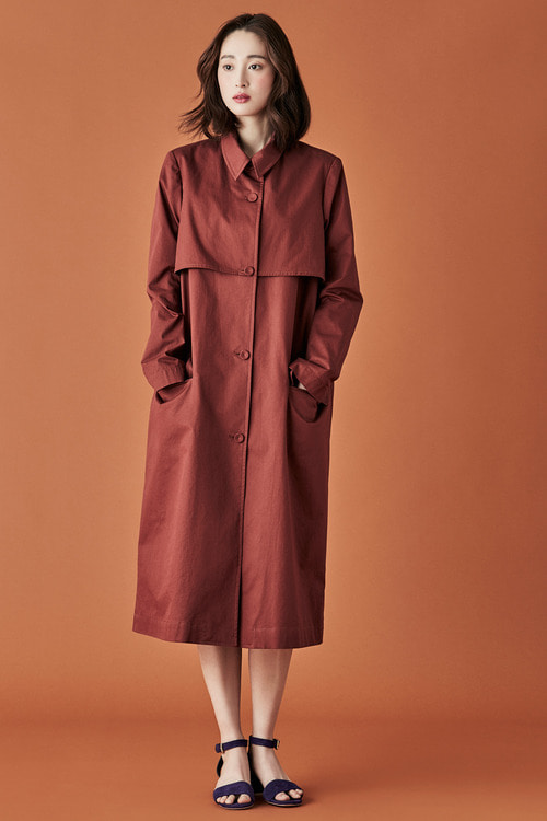 Cotton Trench Coat - Brick Red