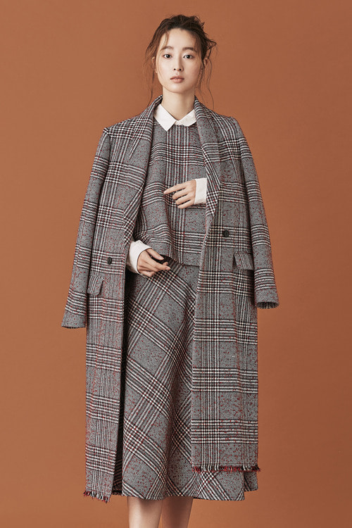 Glen Check Fringed Edge Long Coat