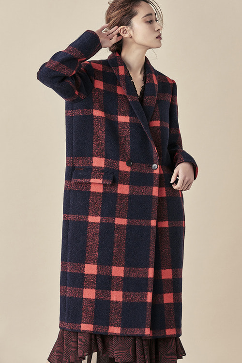 Bold Check Double Coat - Red/Black