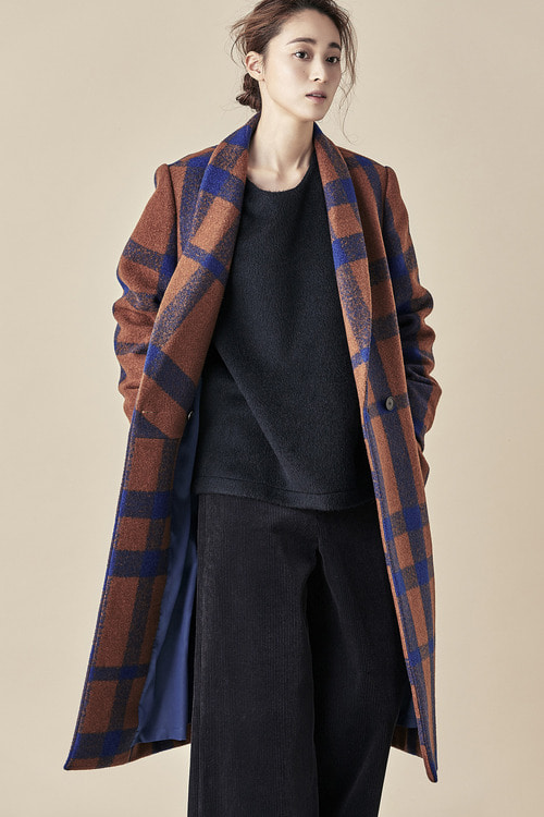 Bold Check Double Coat - Orange/Blue
