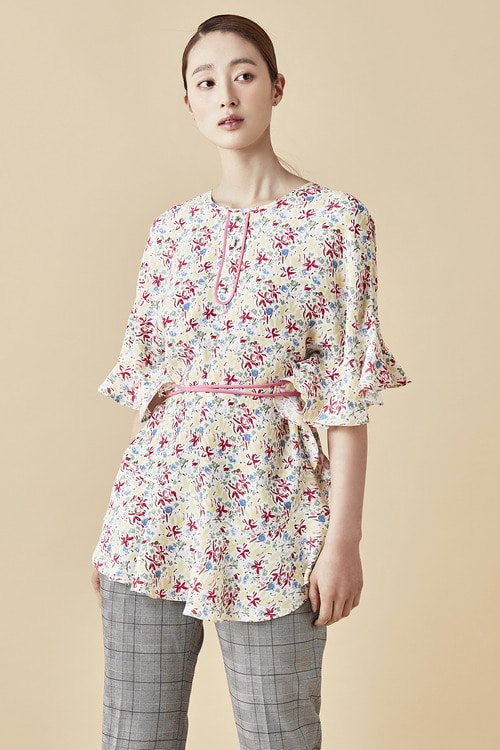 Flower Shirring Blouse - White