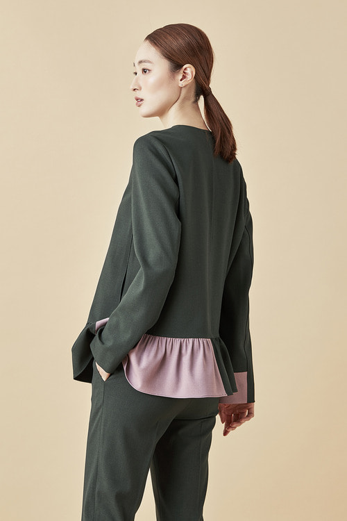 Shirring Blouson Jacket - Deep Green