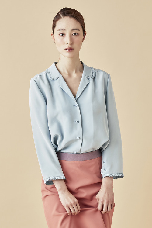 Silk Shirring Blouse - Pale Blue