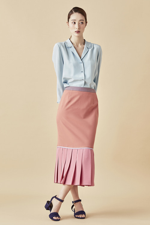 Pink Pleats Midi Skirts
